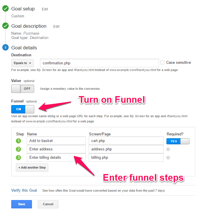google anlytics goal funnel
